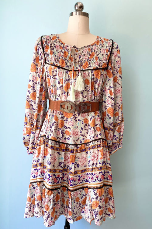 Mint and Orange Floral Tunic with Tassel Ties