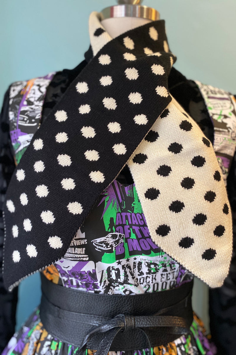 Sharon Polka-dot Scarf in Black or Navy by Collectif