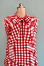 Strawberry Gingham Bow Top by Retrolicious