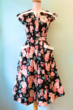 Black & Pink Floral Hedda Dress by Unique Vintage