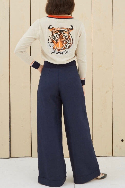 Josephine Navy Linen Pants by Palava