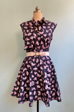 Pink Moth Skater Skirt by Retrolicious