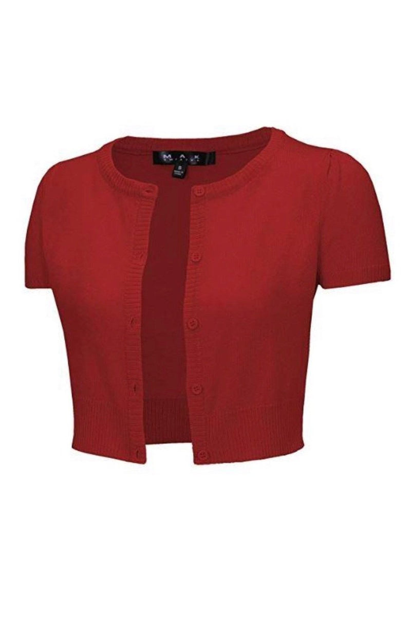 Short Sleeve Perfect Cropped Cardigan in Red