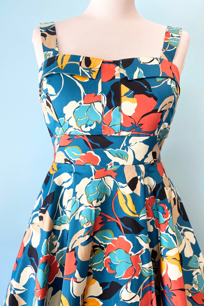 Blue and Red Multi Floral Fold-Over Dress by Eva Rose