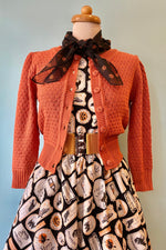Dusty Orange Crocheted Cropped Cardigan
