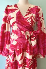 Pink Red and Ivory Tropical Wrap Top