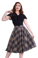 Sophie Skirt in Gray & Brown Plaid by Sheen Clothing