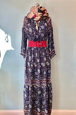 Navy Paisley Maxi Dress