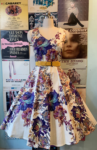 V-Neck Ivory & Purple Floral Dress by Eva Rose