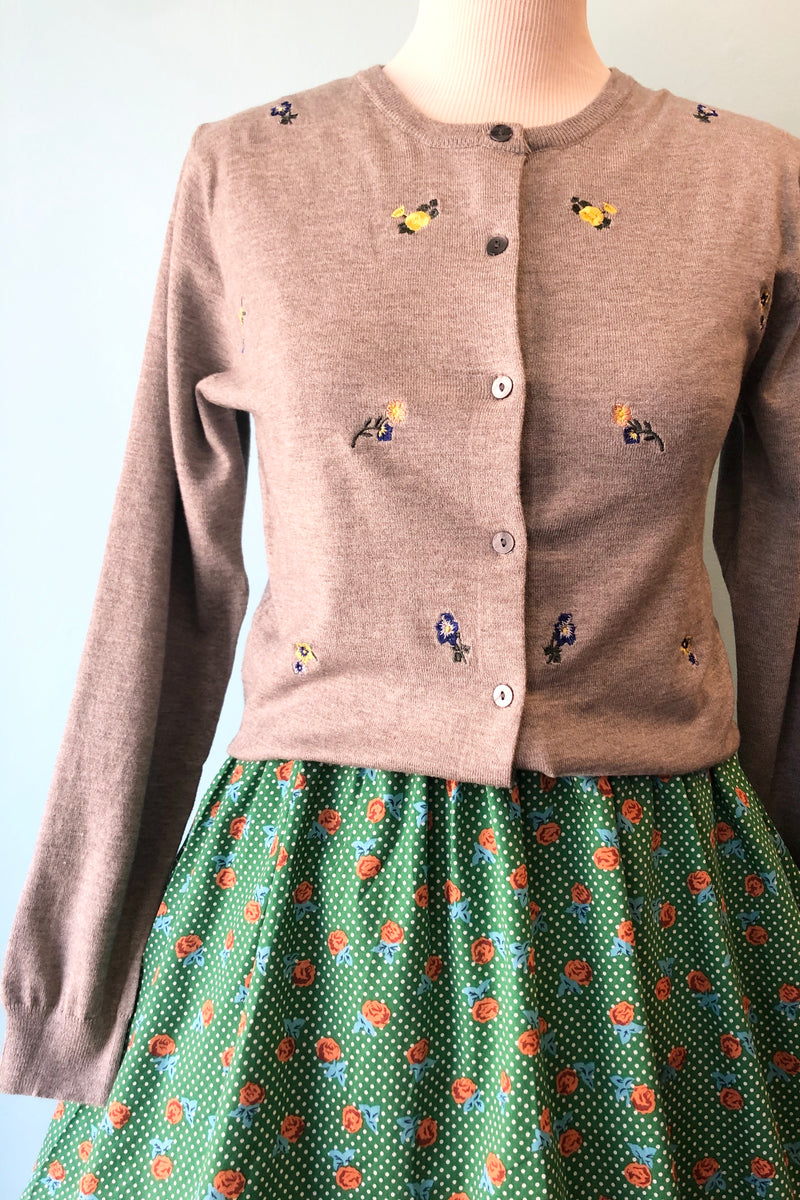 Grey Floral Embroidered Cardigan Sweater by Tulip B.