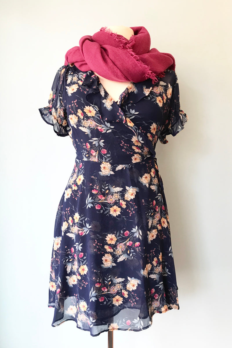 Navy Floral Chiffon Wrap Dress by Eva Rose