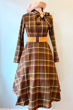 Arwen Mosshill Brown Plaid Dress by Collectif