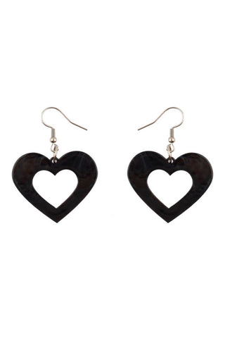 Heart Ripple Resin Drop Earrings in Black by Erstwilder