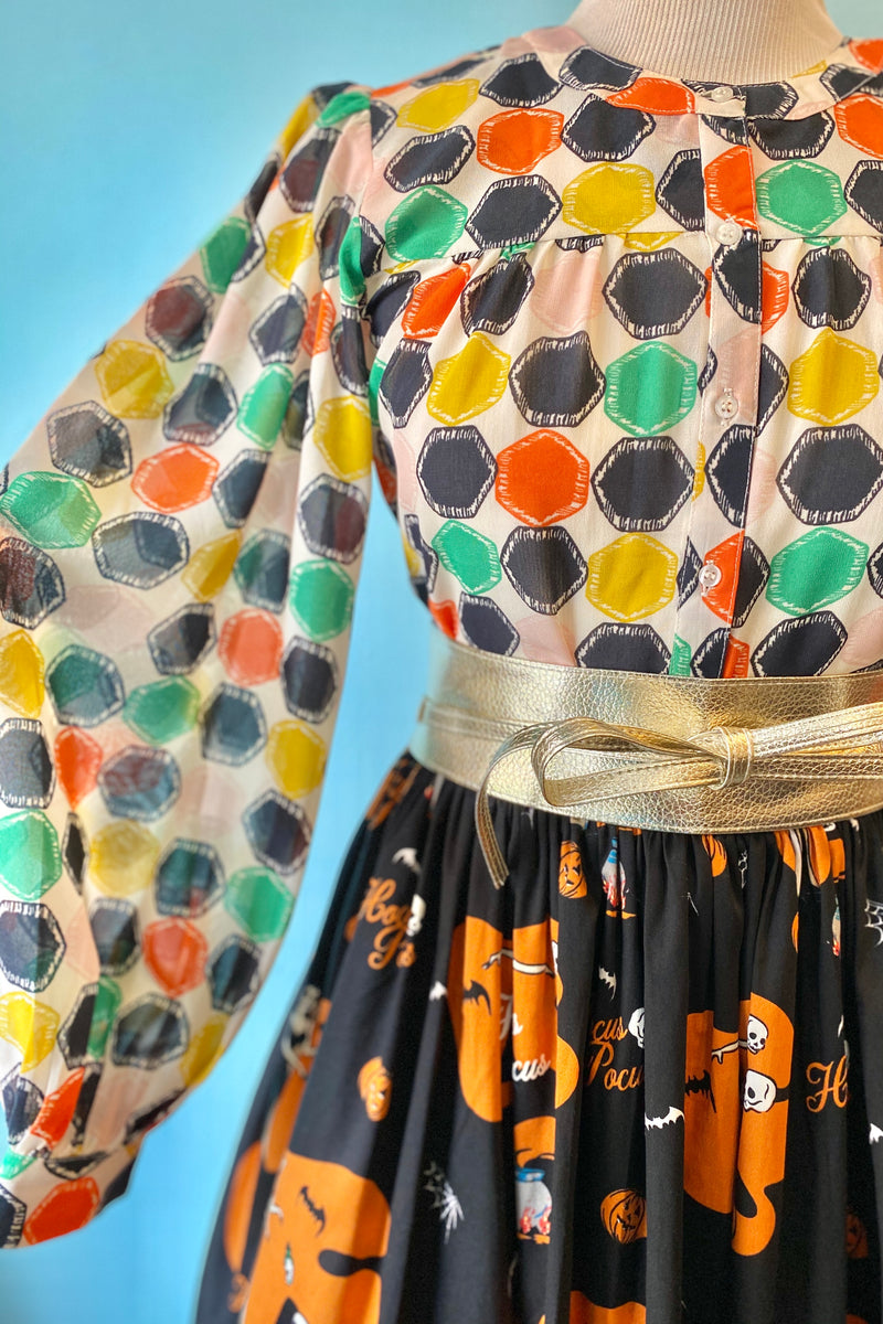 Colorful Print Balloon Sleeve Pleated Top by Compania Fantastica
