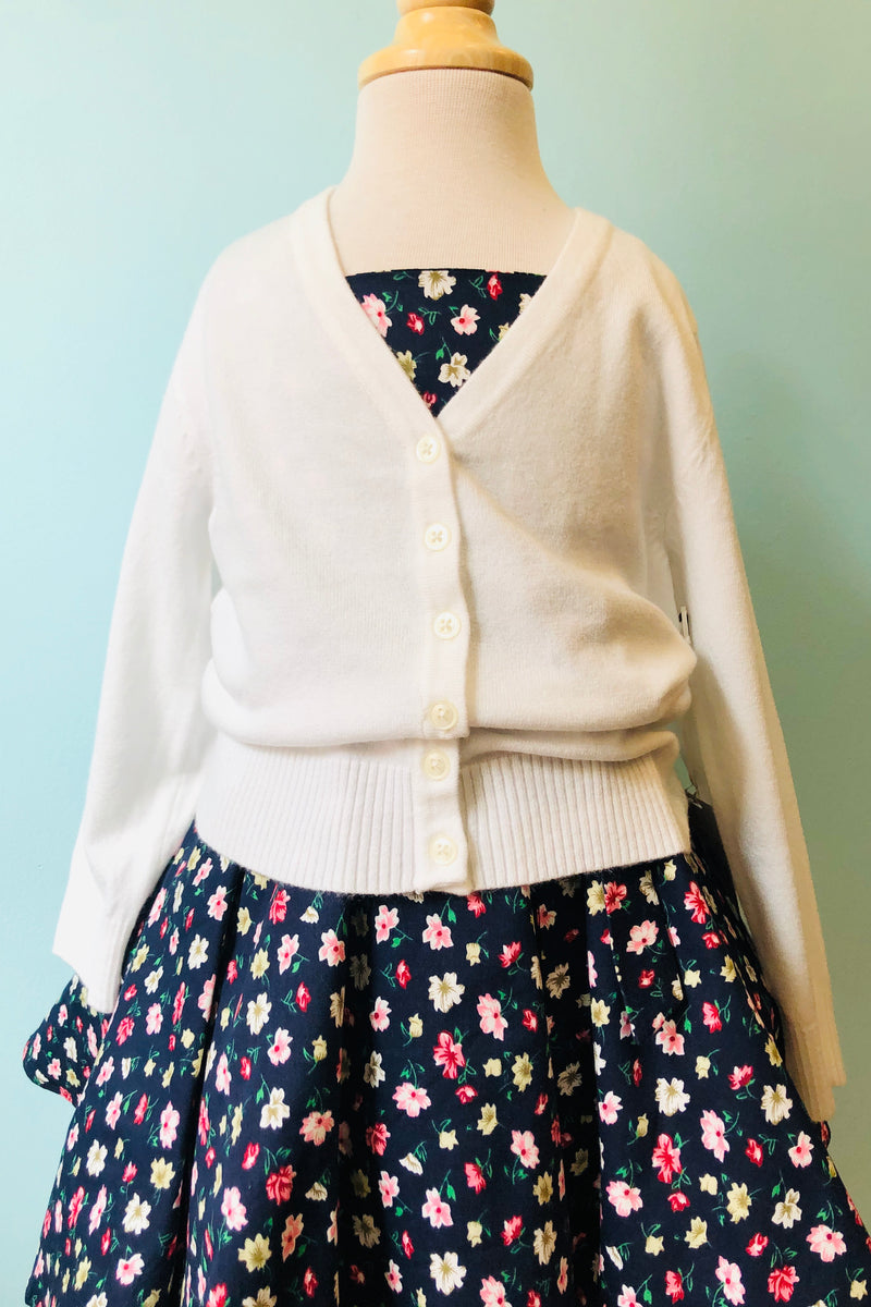 Kids V-Neck Cardigan in White