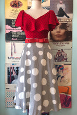 Red Polka Dot Frenchie Top by Unique Vintage