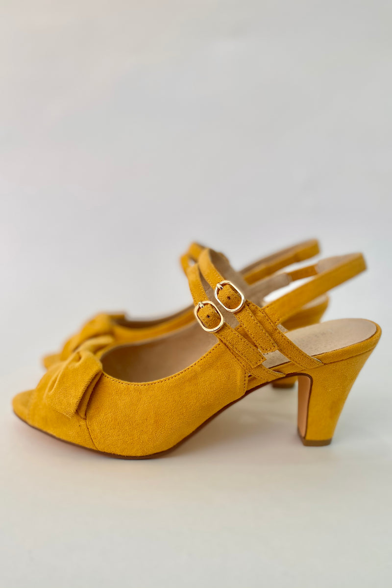 Lady Peep Toe Heels in Mustard by Chelsea Crew