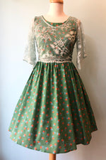 Green Polka-dot Floral Dress by Tulip B.