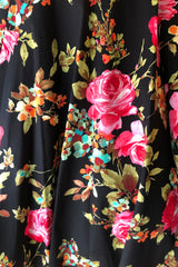 Black & Fuchsia V-Neck Floral Dress by Eva Rose