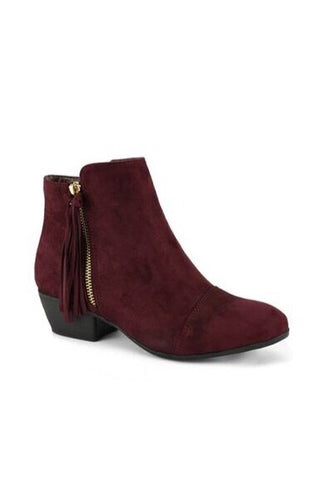 Burgundy Faux Suede Flick Low Bootie