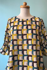 Trumpet Sleeve Blouse in Geometric Horse Print