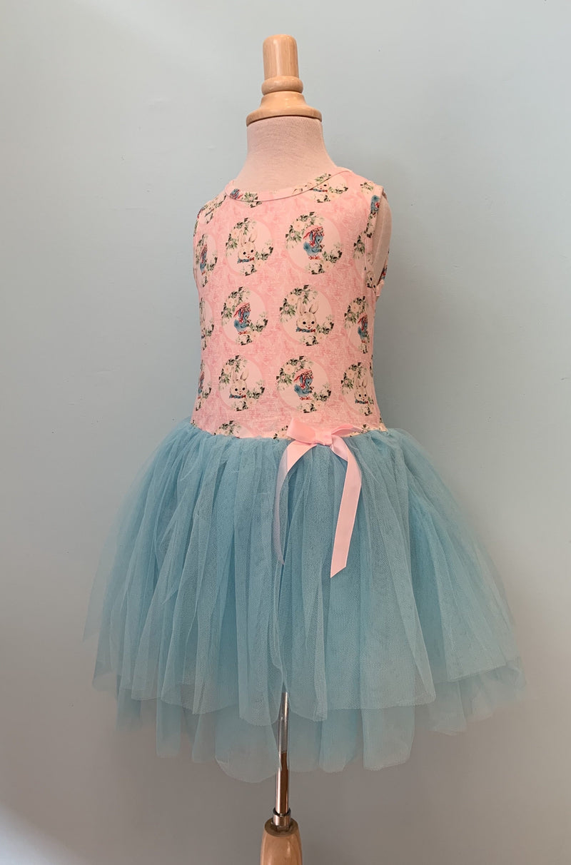 Pink & Blue Bunny Tulle Kids Dress