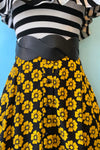 Mustard and Black Floral Megan Skirt by Collectif