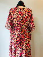 Pink and Ivory Floral Chiffon Liz Caftan Dress