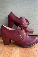 Wine Rosie Lace-Up Heeled Oxford Shoes by B.A.I.T.