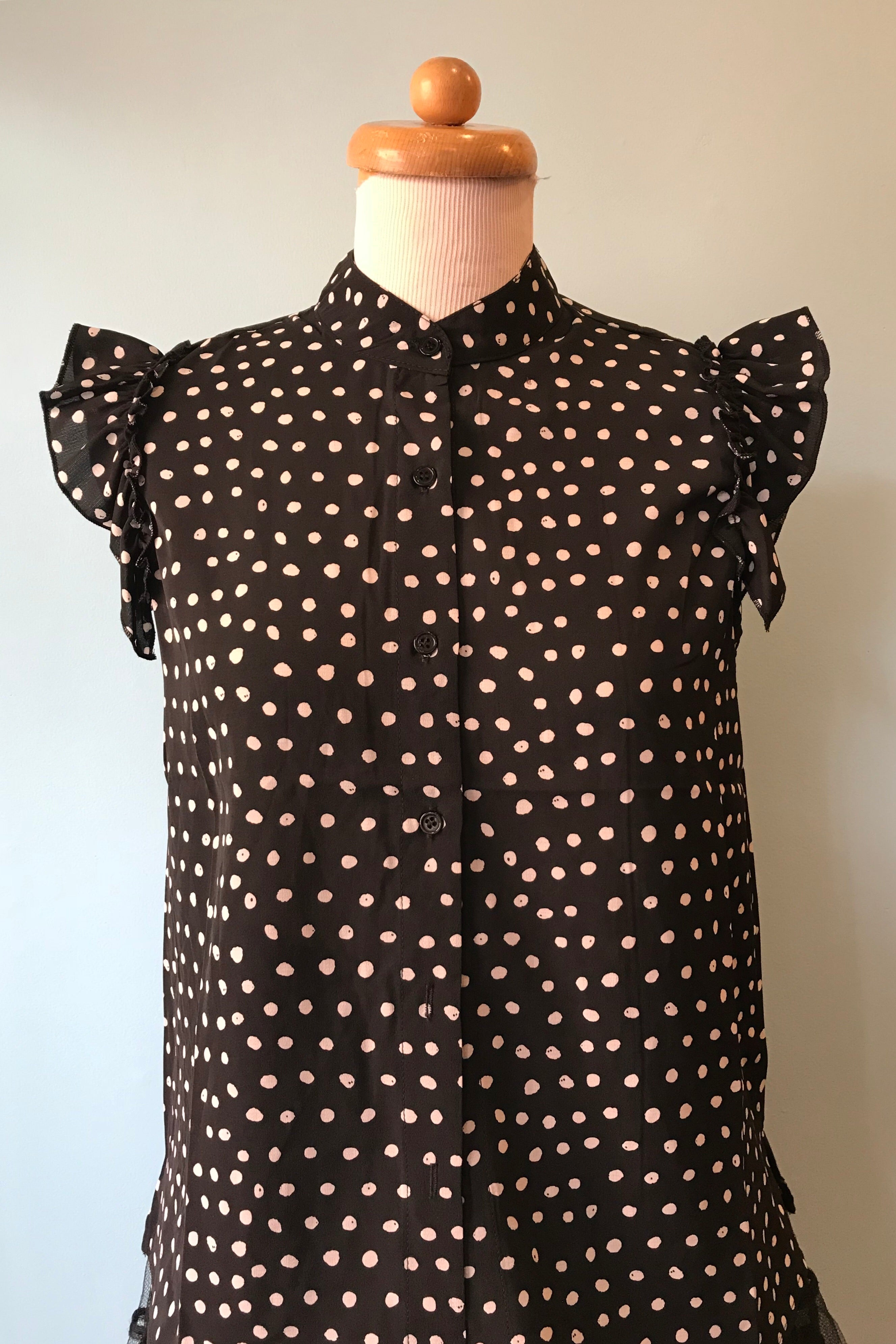 Ruffle Sleeve Blouse in Black & White Polka Dot