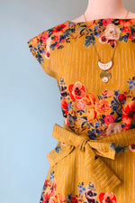 Beatrice Dress in Mustard Floral Garland by Palava