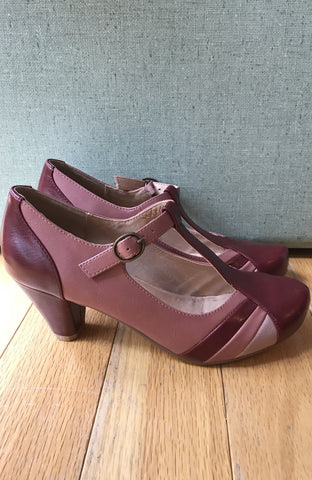 Monet T-Strap in Two-Tone Burgundy by Chelsea Crew