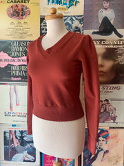 Burgundy V-Neck Cropped Sweatshirt by Blue Platypus
