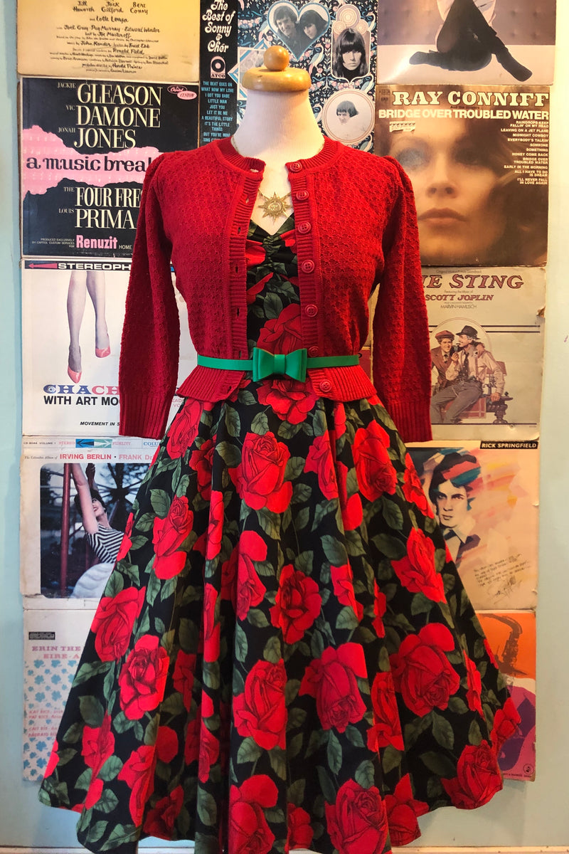 Red Roses Sweetheart Neckline Dress by Eva Rose