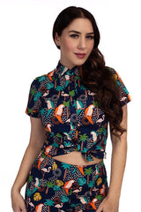 Tropical Birds Buttondown Top by Retrolicious