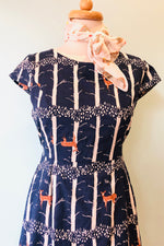 Cap Sleeve Sheath Dress in Navy Deer Print