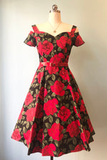 Dropped Sleeve Sweetheart Red Floral Dress by Eva Rose