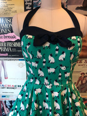 Halter Dress in Teal Siamese Cat by Eva Rose