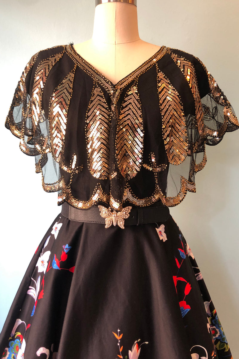 Black & Gold Sequin Capelet by Unique Vintage