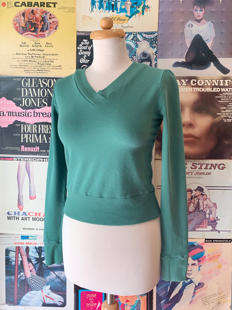 Pine V-Neck Cropped Sweatshirt by Blue Platypus