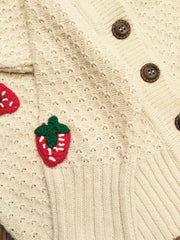 Strawberry Crocheted Cardigan in Oatmeal