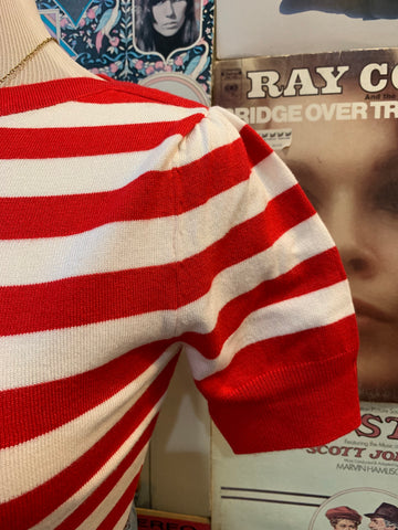 Bateau Sweater in Red & White Stripe by Pretty Retro