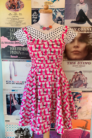 Tie-Back Mini Dress in Fuchsia Cat Print by Ixia