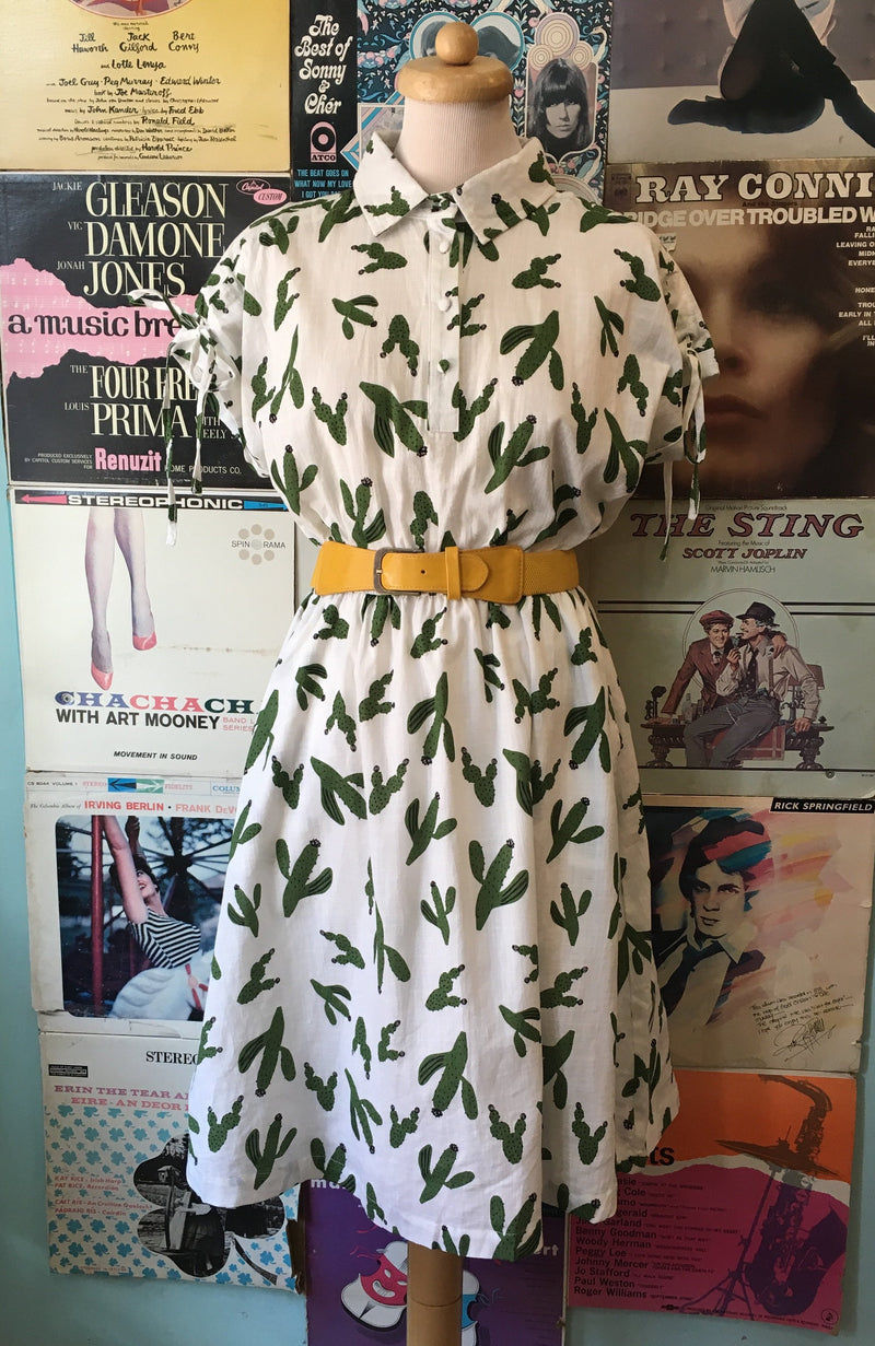 Into the Desert Tie Dress in Cactus Print by Teeberry & Weave