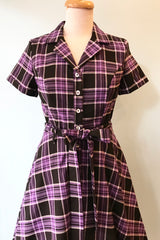 Purple Plaid Shirtwaist Dress by Eva Rose