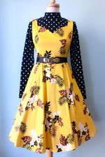 Sweetheart Dress in Mustard Floral