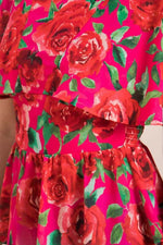 Red Rose Capelet Sleeve Top