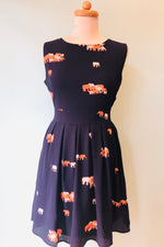 Fit to Flare Dress in Navy Elephant Print