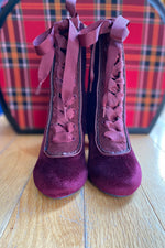 Victoria Burgundy Velvet Lace-Up Booties by Chelsea Crew