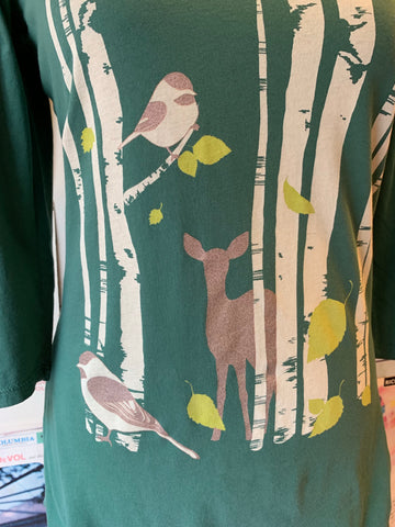Birch Print T-Shirt Top in Pine Green by Blue Platypus